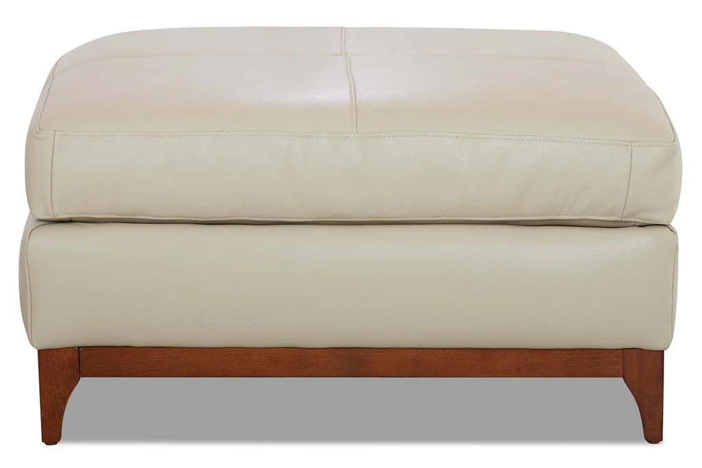 knox leather pillow top footstool ottoman with decorative wood base