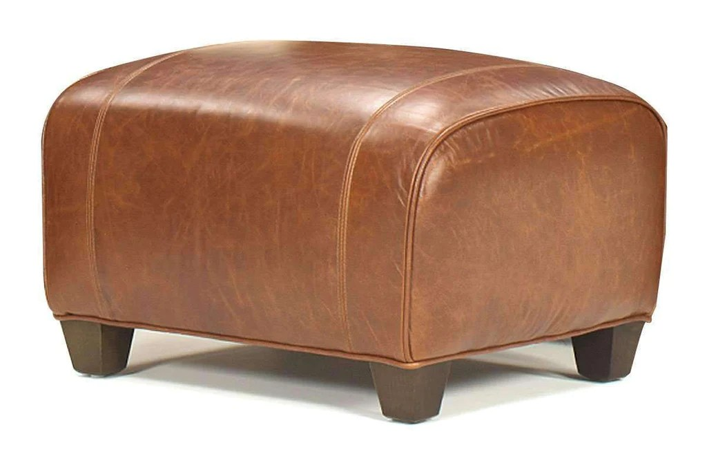 tribeca rustic leather footstool ottoman