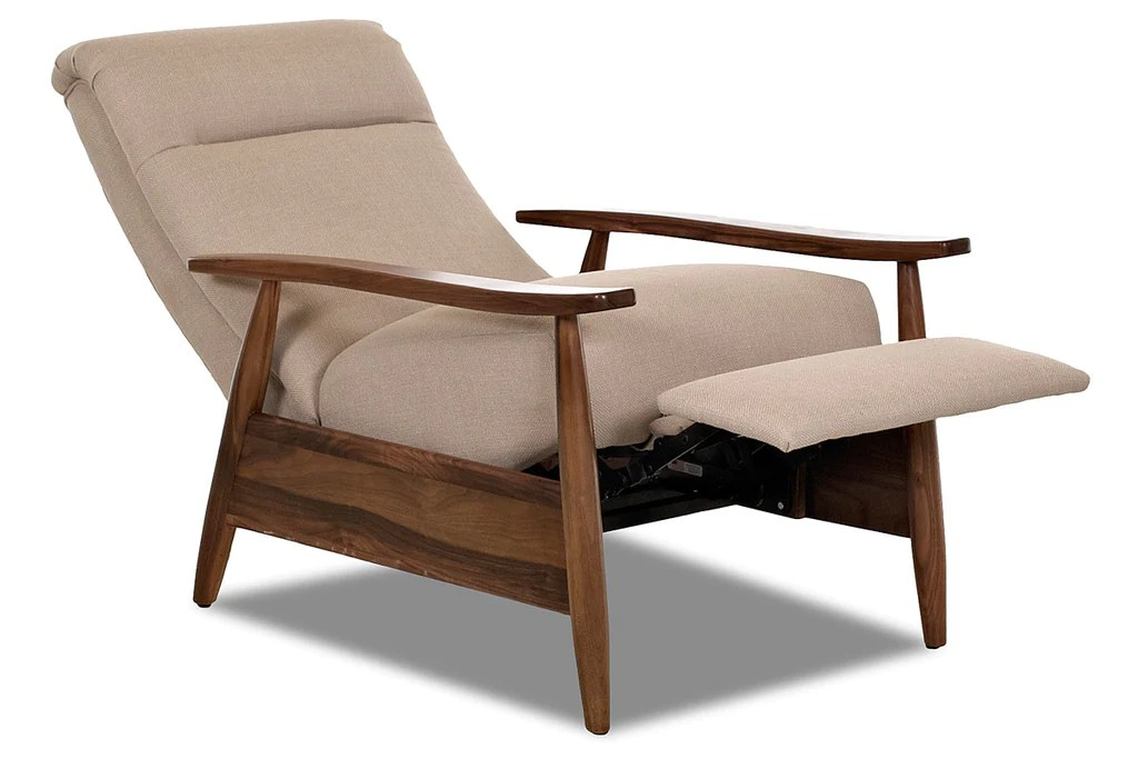Peter Small Mid Century Modern Fabric Recliner Club Furniture