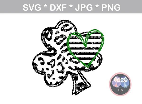 Download Shamrock, Heart, clover, St Pattys Day, digital download ...
