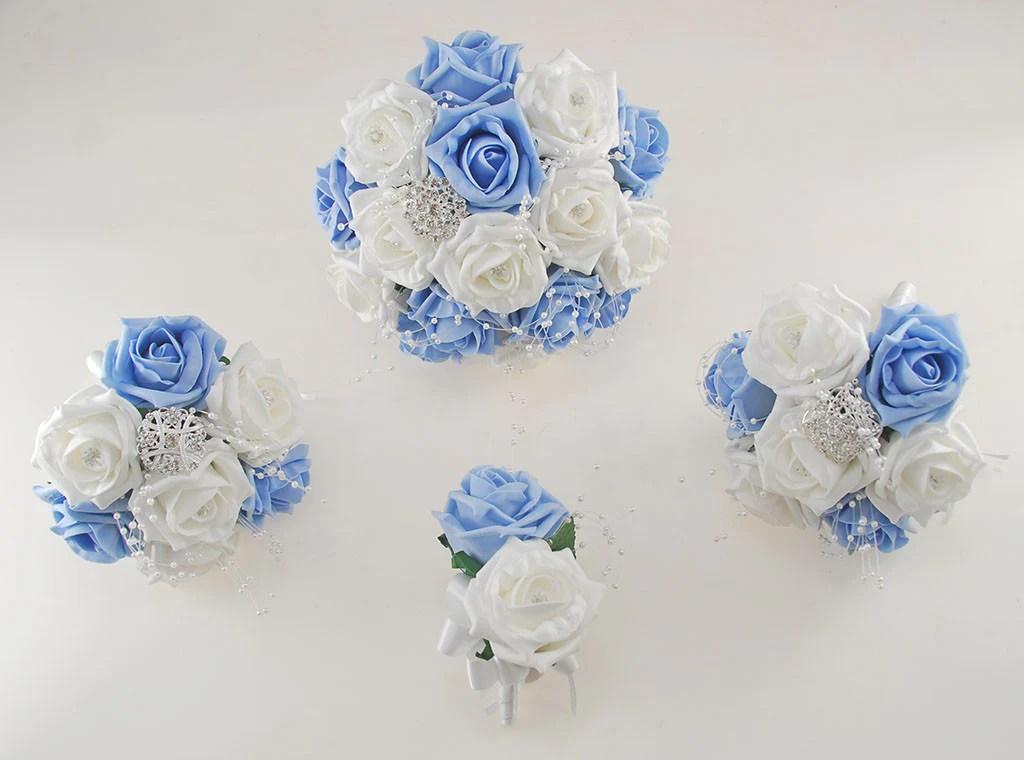 Light Blue And White Diamante Foam Rose, Brooch Wedding