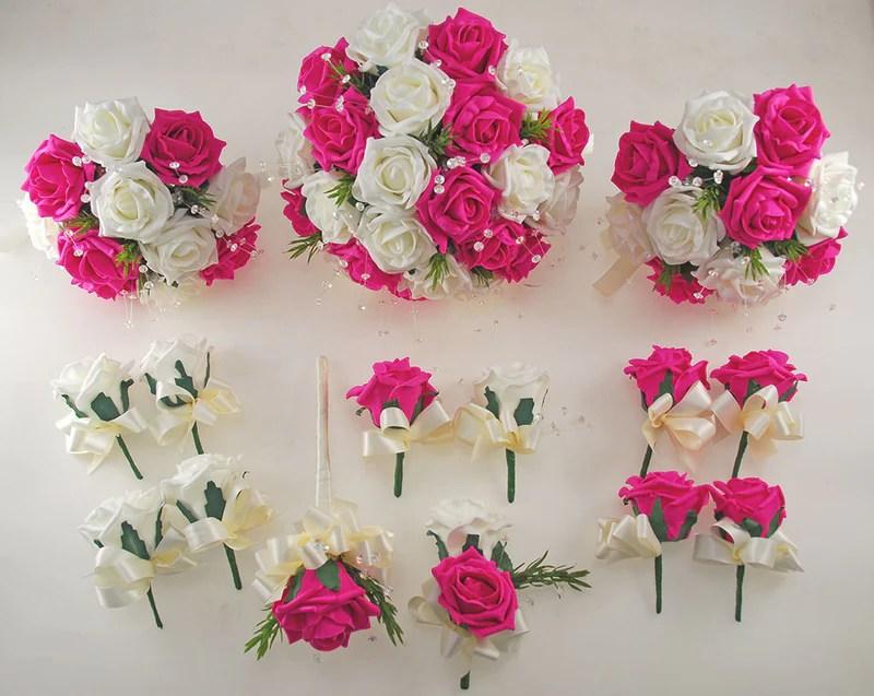 Dark Cerise Pink And Ivory Foam Rose Wedding Flower