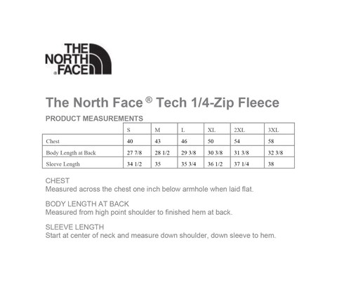 sizing charts the north face - 480×416