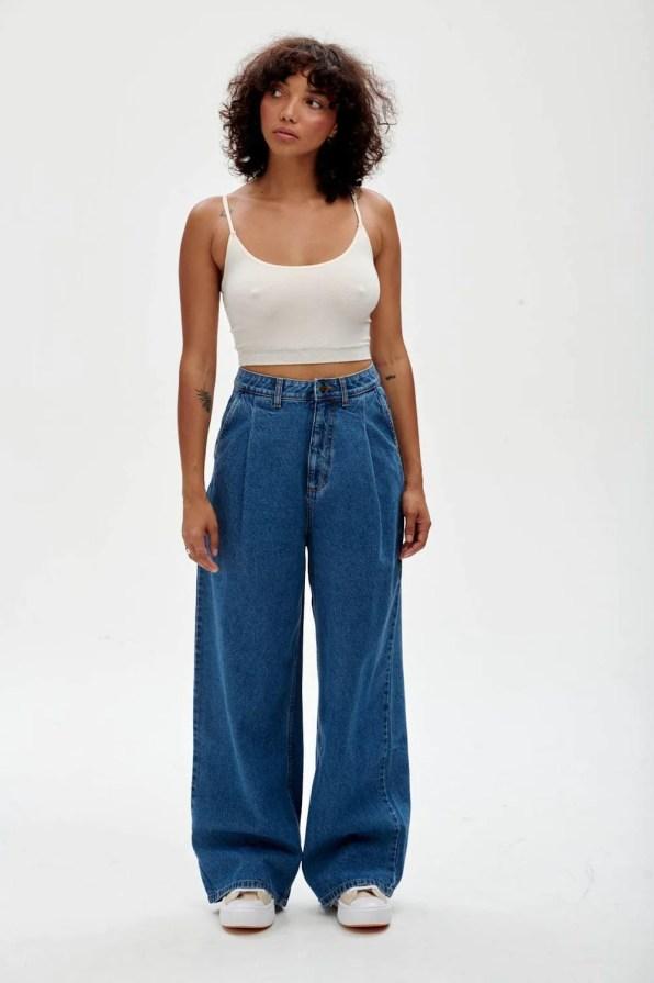 Lucy & Yak jeans Cole Wide-leg Jeans: ORGANIC DENIM - Mid Wash