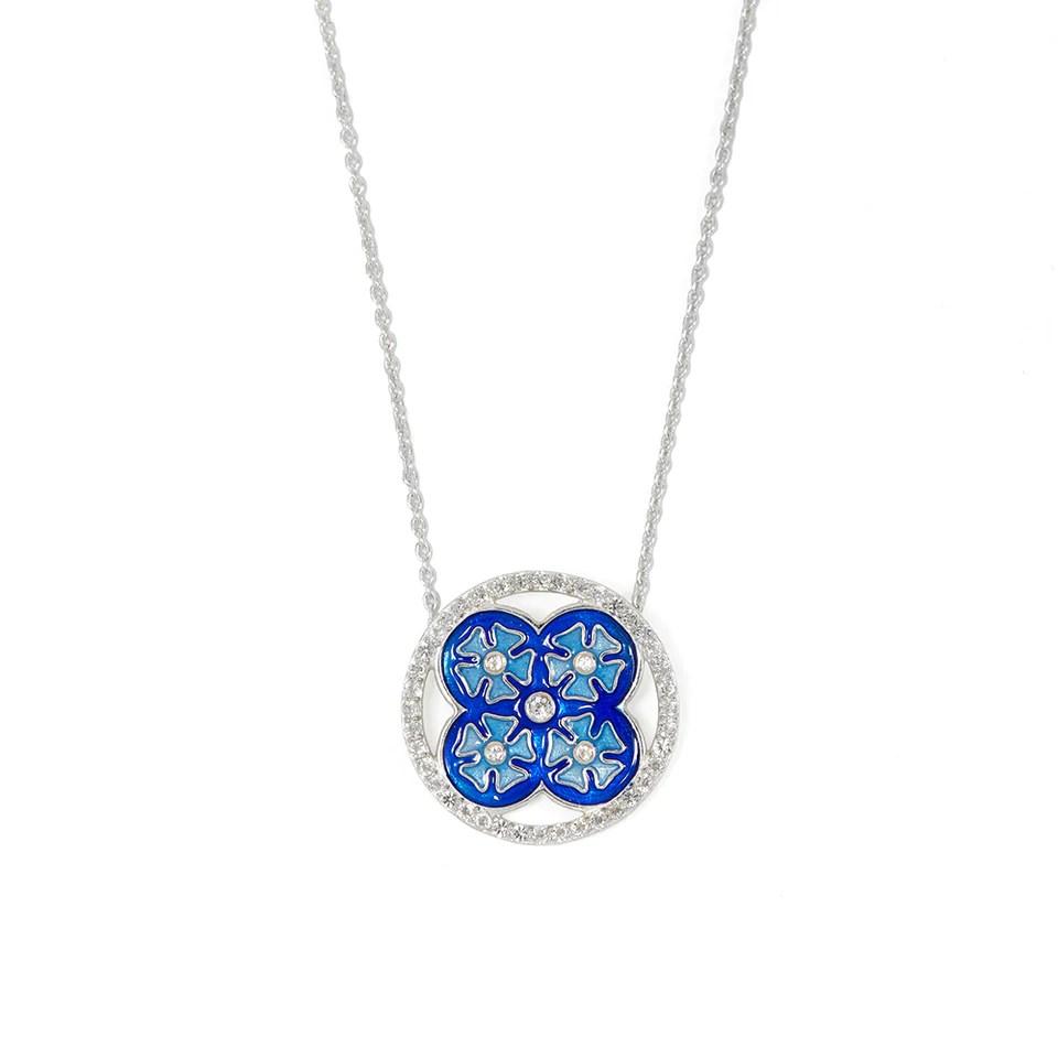 sterling silver tile necklace blue