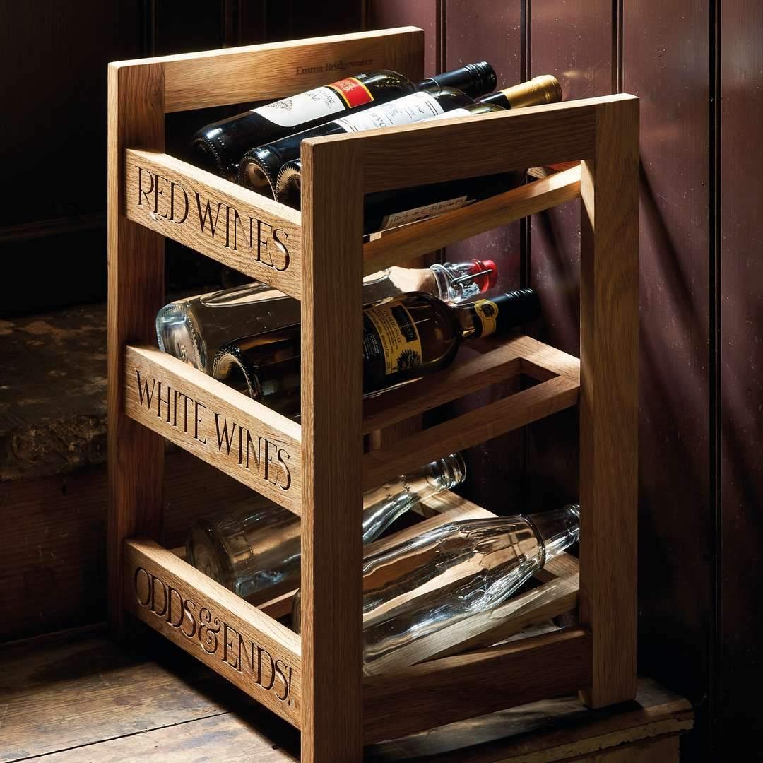 black toast wooden wine rack