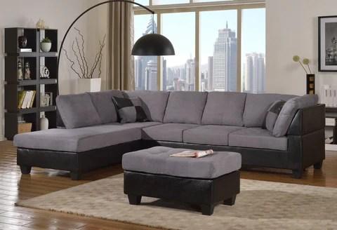 modern microfiber sectional sofa set in grey color