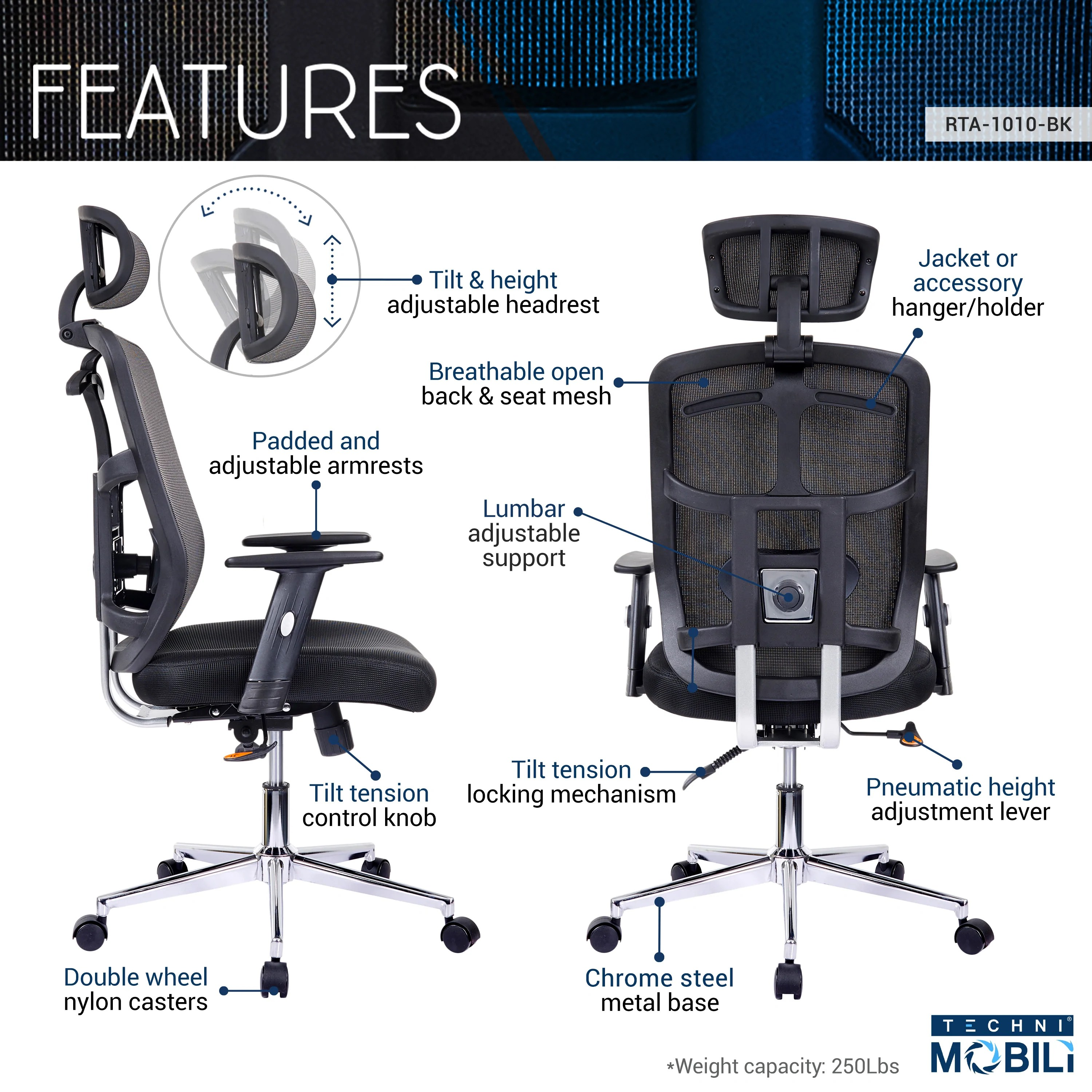 High Back Executive Mesh Office Chair With Arms Lumbar Support And Chrome Base