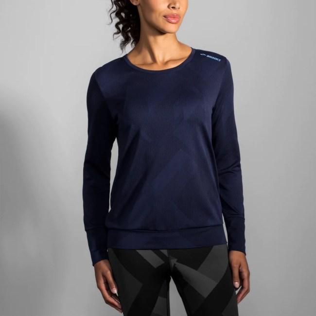 Brooks Array Long Sleeve Top Women's Running Apparel Navy Eclipse Jacquard