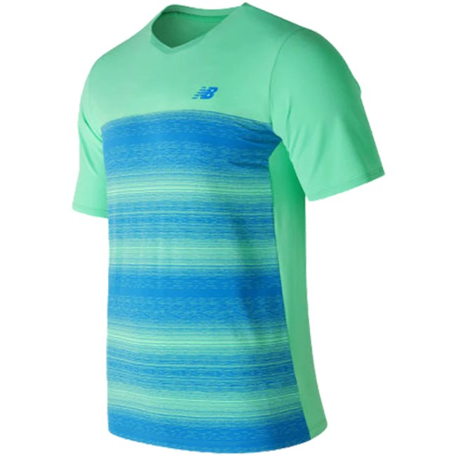 New Balance Yarra Crew Australian Open Men's Tennis Apparel Vivid Jade/Electric Blue