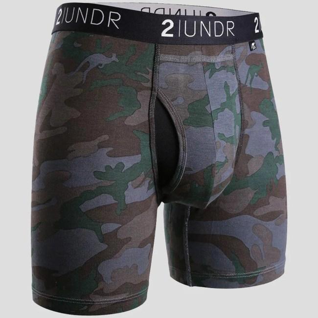 """2UNDR Swing Shift 6"""" Boxer Briefs Patterns Running Apparel Dark Camo"""