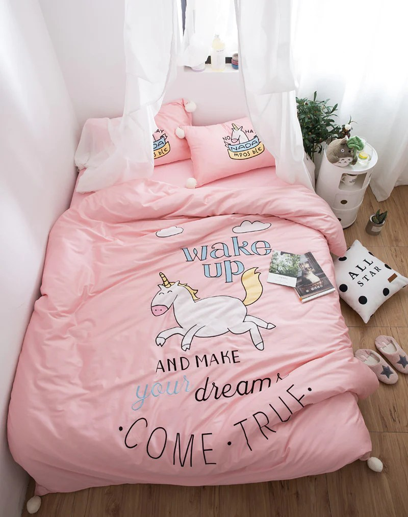 RainbowSleep Unicorn Queen And King Sheets Set 4 Pieces