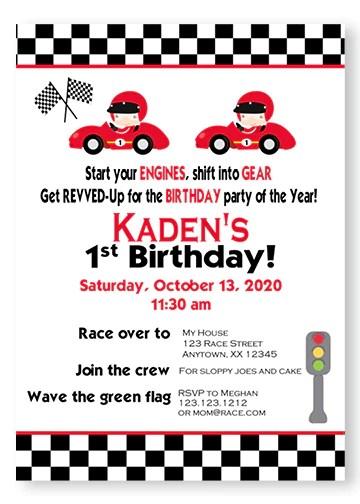 twin red race car birthday invitation