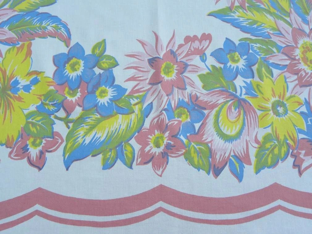 Vintage Springmaid Pastel Tropical Lily Tablecloth The