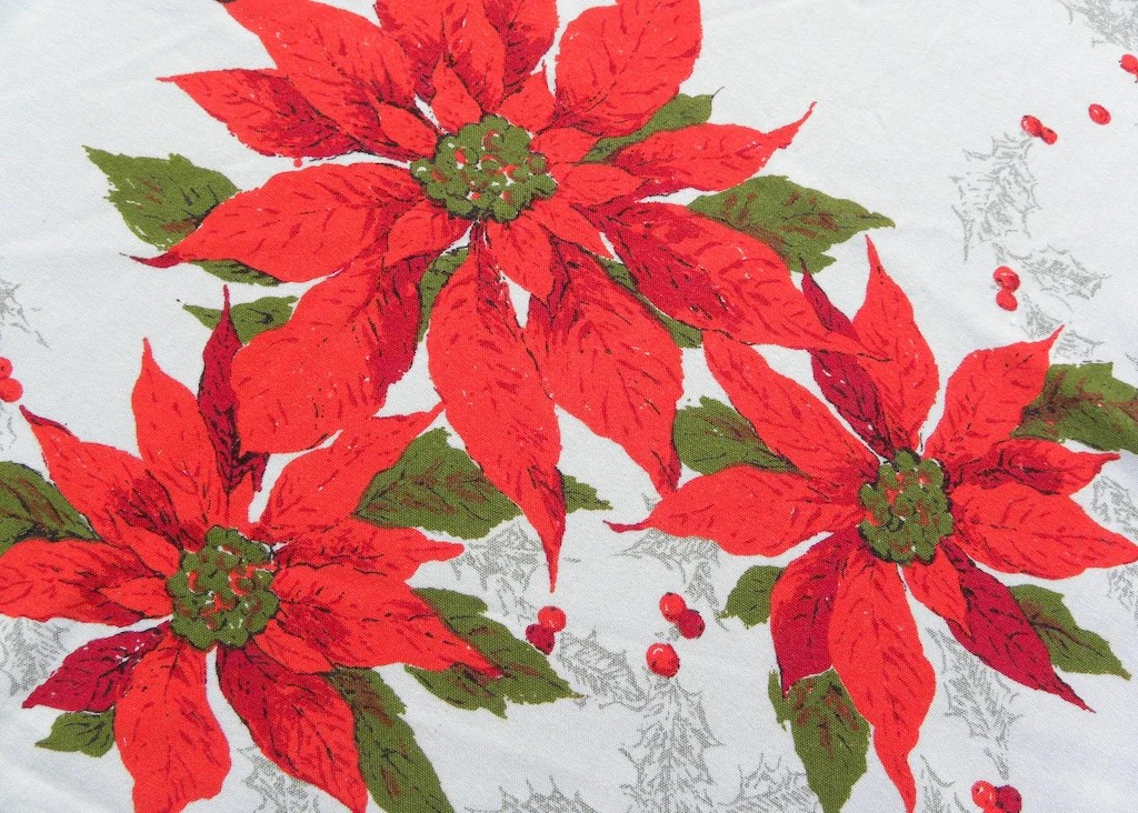 Vintage Christmas Poinsettia And Holly Tablecloth The
