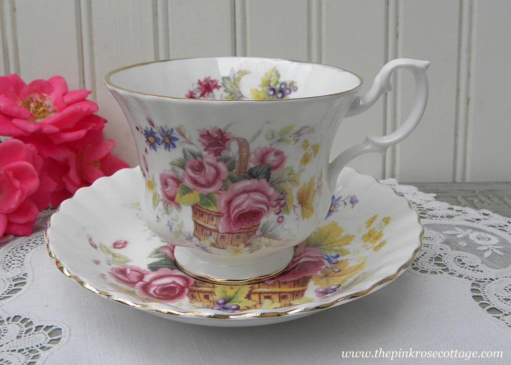 Vintage Royal Albert Basket Of Pink Roses And Grapes