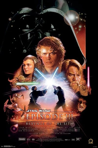 star wars episode iii revenge of the sith 2005 official one sheet movie poster reprint 24x36 trends international