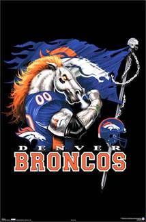 denver broncos ferocious nfl football theme art poster costacos sports