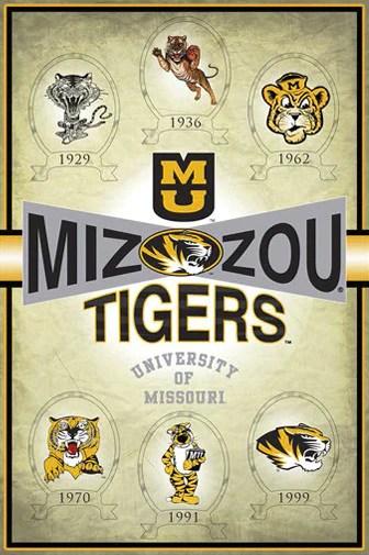 missouri tigers truman logo history 1929 1999 official ncaa poster prographs inc