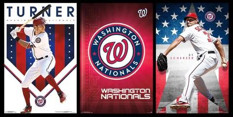 combo washington nationals mlb baseball 3 poster combo set turner scherzer team logo theme art