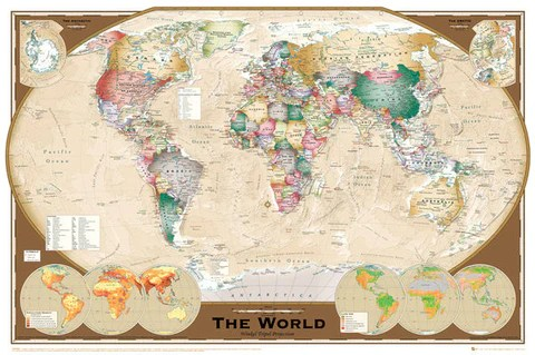 Wall Map of The World Poster  Winkel Tripel Projection    GB Eye Ltd     Wall Map of The World Poster  Winkel Tripel Projection    GB Eye Ltd