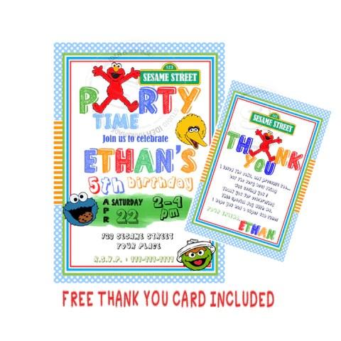 custom elmo birthday invitation with free matching thank you card printable elmo and friends sesame street invitations personalized birthday baby