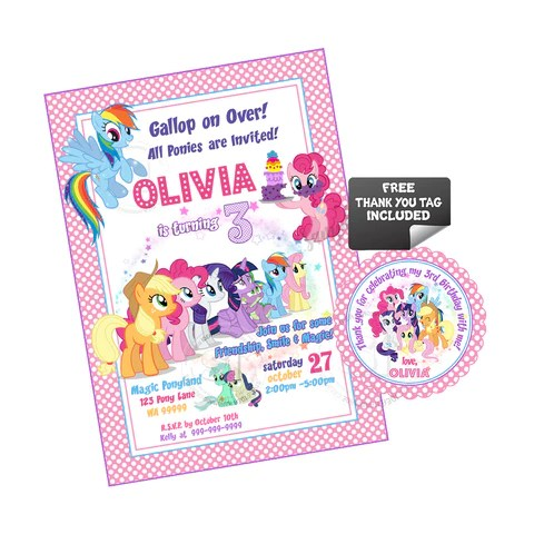 my little pony birthday party printable invitation with free thank you tag diy digital file little pony friendship rainbow magical birthday invitation