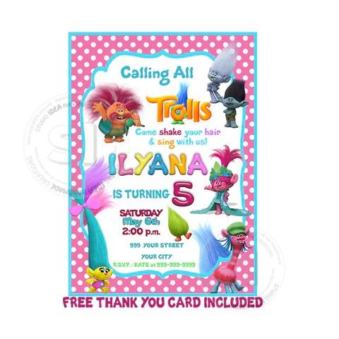 custom trolls birthday invitation with free thank you card personalized trolls printable birthday invitations diy birthday invites and thank you