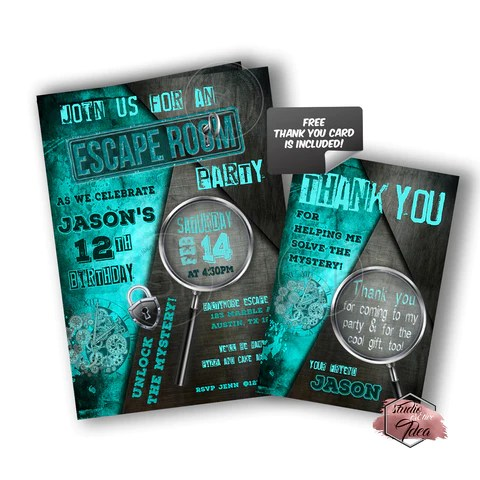 escape room party printable invitation with free thank you card diy digital file escape room theme birthday invitation you print