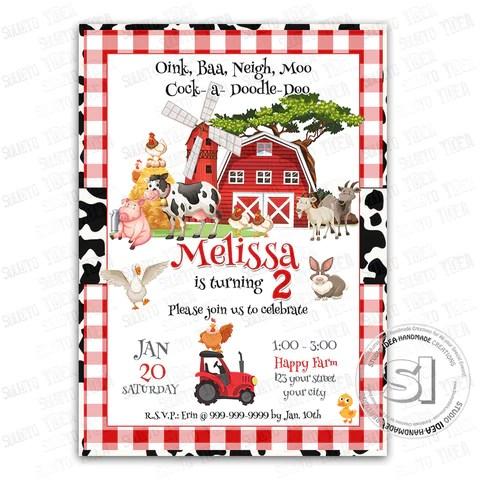 barnyard farm party printable invitation with free thank you tag diy digital file farm animals birthday invitation you print