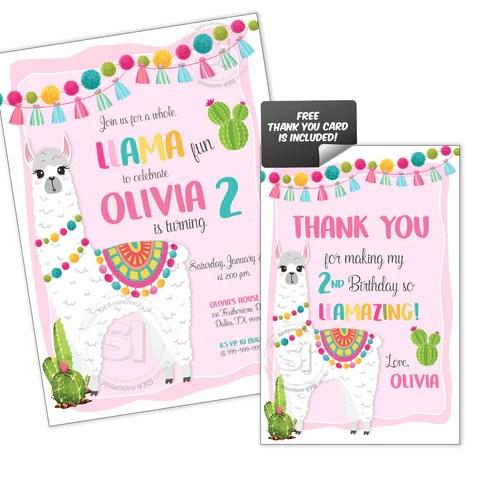 llama party printable invitation with free thank you card diy digital file llama fun birthday invitation you print