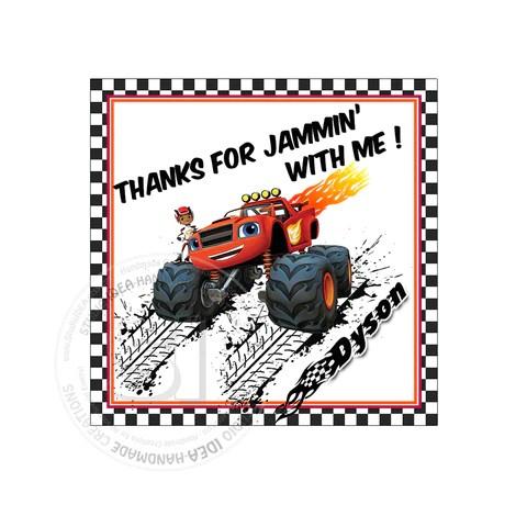 monster truck blaze party printable invitation with free thank you tag diy digital file blaze birthday invitation you print