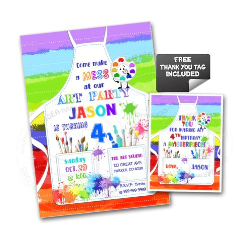 custom art party printable invitation with free thank you tag diy digital file colorful painter as apron birthday invitation you print
