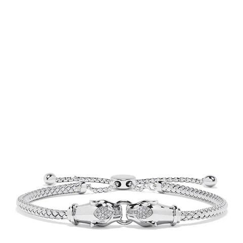 Effy 925 Sterling Silver Diamond Duo Panther Bracelet, 0.10 TCW