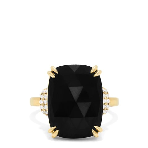 Effy 14K Yellow Gold Black Jade and Diamond Ring, 11.94 TCW