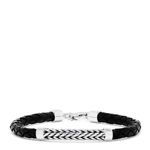 Effy Men's Sterling Silver and Leather Braid Bracelet