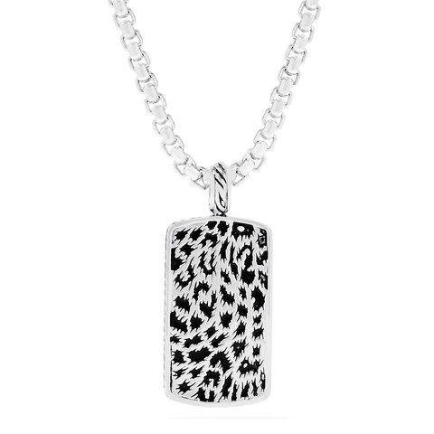 Effy Men's Sterling Silver Panther Spots Dog-Tag Pendant