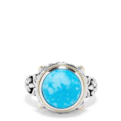 Effy Sterling Silver & 18K Yellow Gold Turquoise Filigree Ring, 5.25 TCW