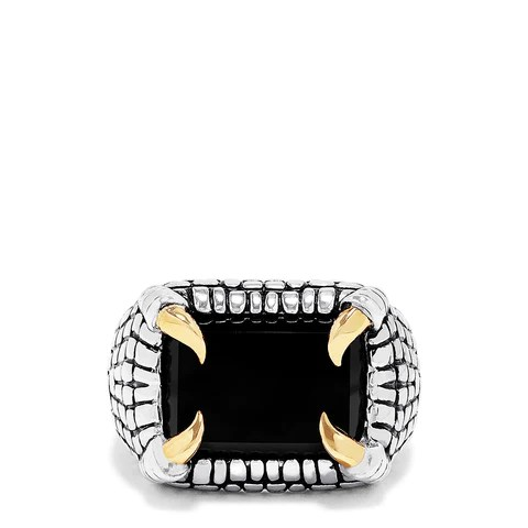 Effy Men's Sterling Silver and 18K Yellow Gold Onyx Ring, 7.90 TCW