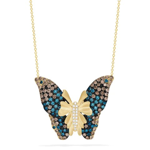 Effy Nature 14K Yellow Gold Multi Color Diamond Butterfly Pendant, 2.70 TCW