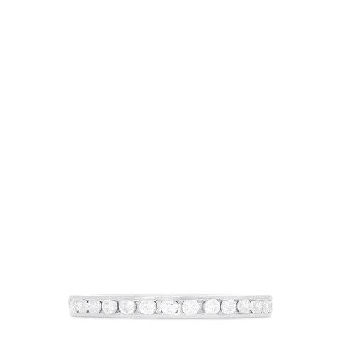14K White Gold Channel Set Diamond Eternity Band, 0.50 TCW