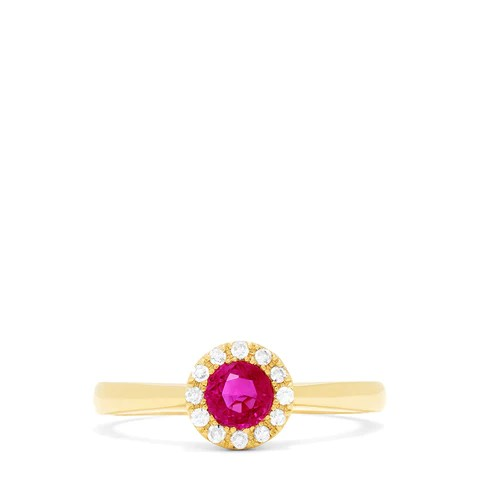 Effy Ruby Royale 14K Yellow Gold Ruby and Diamond Ring, 0.52 TCW