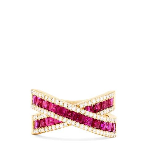 Effy Ruby Royale 14K Yellow Gold Genuine Ruby & Diamond Ring, 2.73 TCW