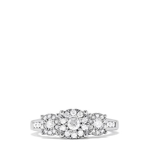 Effy 925 Sterling Silver Diamond Cluster Ring, 0.49 TCW