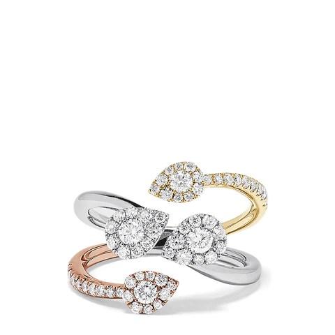 Effy Trio 14K Tri Color Gold Diamond Ring, 0.98 TCW