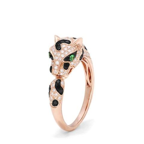 Effy Signature 14K Rose Gold Diamond and Garnet Panther Ring, 0.56 TCW
