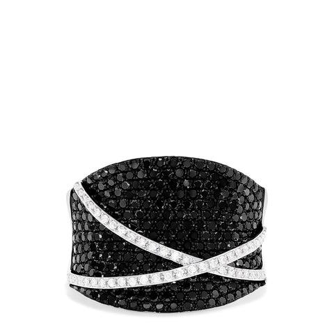 Effy 14K White Gold Black and White Diamond Ring, 1.22 TCW