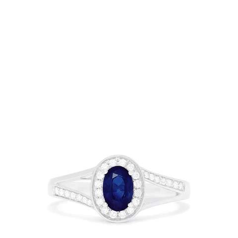 Effy Royale Bleu 14K White Gold Sapphire and Diamond Ring, 0.70 TCW