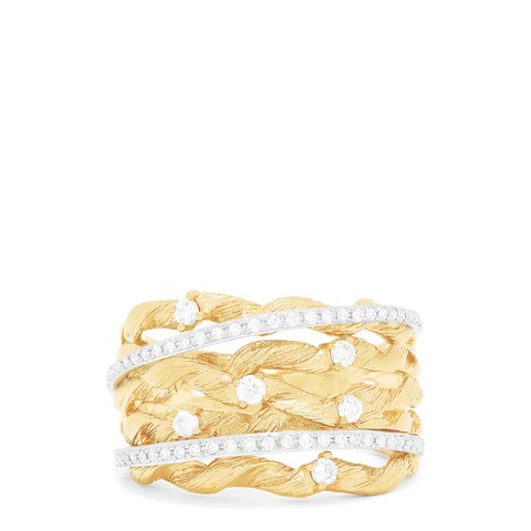 Effy D'Oro 14K Textured Yellow Gold Diamond Accented Ring, 0.41 TCW