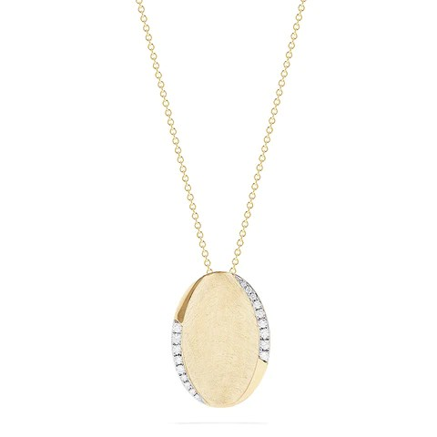Effy D'Oro 14K Yellow Gold Diamond Accented Oval Pendant, 0.24 TCW